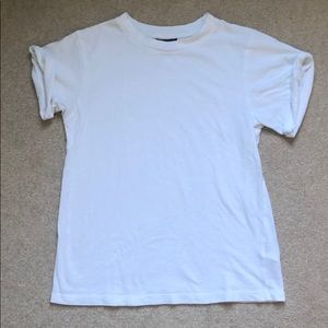Top Shop White Tee Rolled Sleeves Size S  (6)